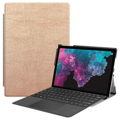 Microsoft Surface Pro 7 hoes - Tri-Fold Book Case - Goud