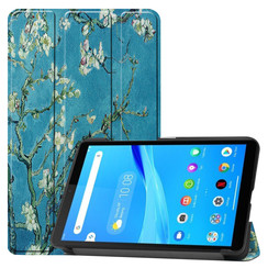 Lenovo Tab M7 hoes - Tri-Fold Book Case - Witte Bloesem