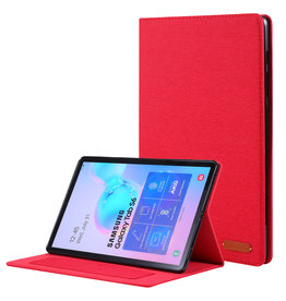 Case2go Samsung Galaxy Tab S6 hoes - Book Case met Soft TPU houder - Rood