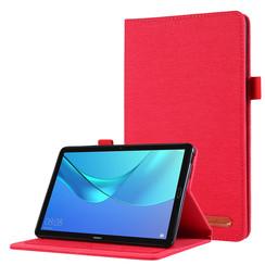 Huawei M5 Lite 8.0 hoes - Book Case met Soft TPU houder - Rood