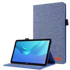 Huawei M5 Lite 8.0 hoes - Book Case met Soft TPU houder - Blauw