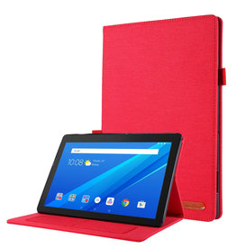 Case2go Lenovo Tab P10 hoes - Book Case met Soft TPU houder - Rood