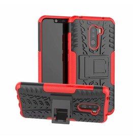Case2go Xiaomi Pocophone F1 hoes - Schokbestendige Back Cover - Rood
