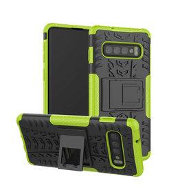 Case2go Samsung Galaxy S10 Plus hoes - Schokbestendige Back Cover - Groen