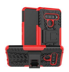 Case2go LG V50 ThinQ hoesje - Schokbestendige Back Cover - Rood