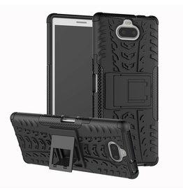 Case2go Sony Xperia 10 Plus hoesje - Schokbestendige Back Cover - Zwart