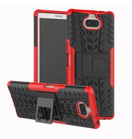Case2go Sony Xperia 10 Plus hoesje - Schokbestendige Back Cover - Rood