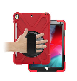 Case2go iPad 10.2 (2019) Hoes - Hand Strap Armor Case - Rood