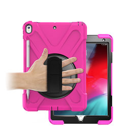 Case2go iPad 10.2 (2019) Hoes - Hand Strap Armor Case - Magenta