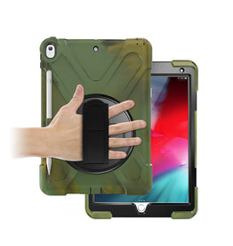 Case2go iPad 10.2 (2019) Cover - Hand Strap Armor Case - Camouflage