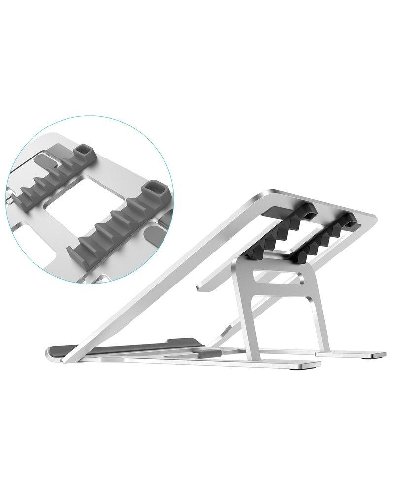 Merkloos Opvouwbare laptop / macbook standaard - 11.6 tot 17.3 inch - Verstelbare hoogte - Aluminium - Zilver