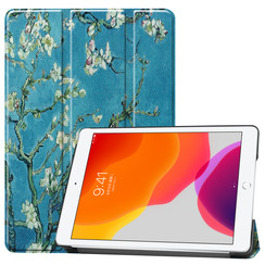 iPad 10.2 inch (2019) hoes - Tri-Fold Book Case - Witte Bloesem
