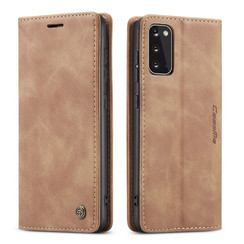 CaseMe - Samsung Galaxy S20 hoesje - Wallet Book Case - Magneetsluiting - Licht Bruin