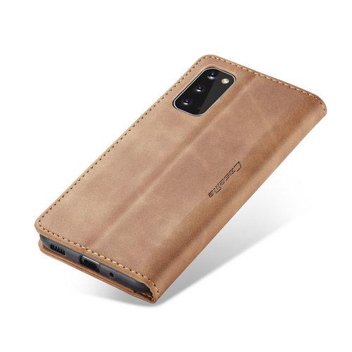 CaseMe CaseMe - Samsung Galaxy S20 hoesje - Wallet Book Case - Magneetsluiting - Licht Bruin