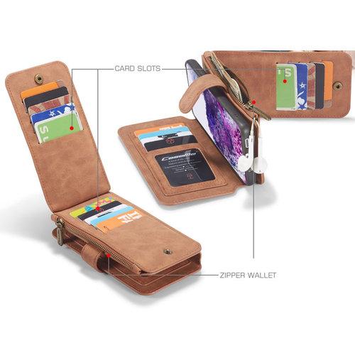 CaseMe CaseMe - Samsung Galaxy S20 hoesje - Wallet Book Case met Ritssluiting - Bruin