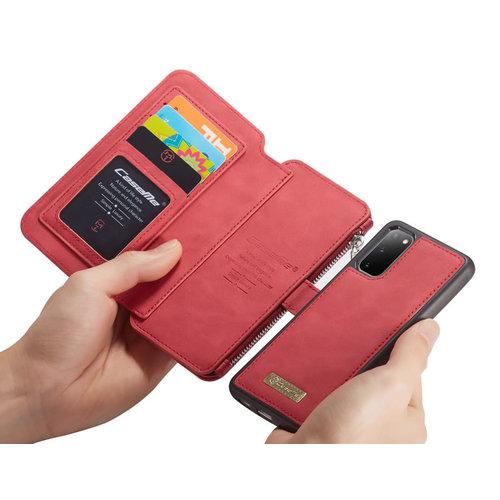 CaseMe CaseMe - Samsung Galaxy S20 hoesje - Wallet Book Case met Ritssluiting - Rood