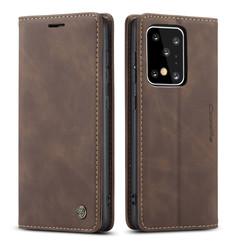 CaseMe - Samsung Galaxy S20 Ultra hoesje - Wallet Book Case - Magneetsluiting - Donker Bruin