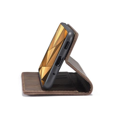CaseMe CaseMe - Samsung Galaxy S20 Ultra hoesje - Wallet Book Case - Magneetsluiting - Donker Bruin