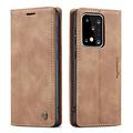 CaseMe CaseMe - Samsung Galaxy S20 Ultra hoesje - Wallet Book Case - Magneetsluiting - Licht Bruin