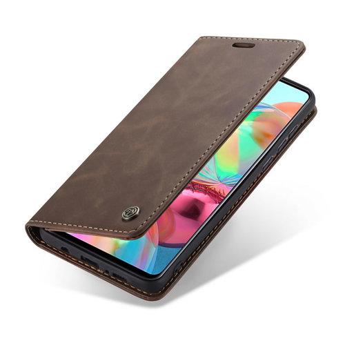 CaseMe CaseMe - Samsung Galaxy A71 hoesje - Wallet Book Case - Magneetsluiting - Donker Bruin