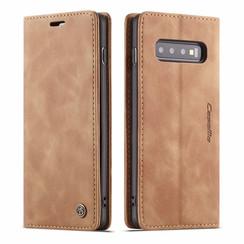 CaseMe - Samsung Galaxy S10 hoesje - Wallet Book Case - Magneetsluiting - Licht Bruin