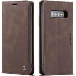 CaseMe - Samsung Galaxy S10 hoesje - Wallet Book Case - Magneetsluiting - Donker Bruin