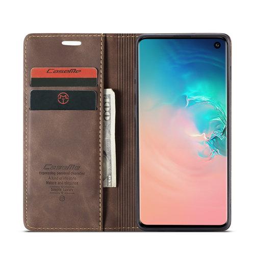 CaseMe CaseMe - Samsung Galaxy S10 hoesje - Wallet Book Case - Magneetsluiting - Donker Bruin