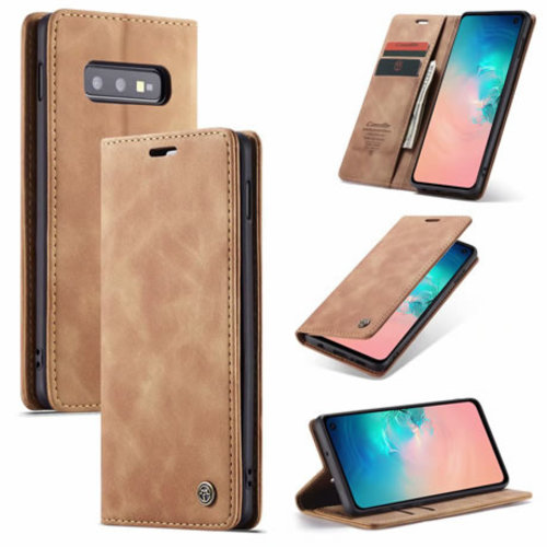 CaseMe CaseMe - Samsung Galaxy S10e hoesje - Wallet Book Case - Magneetsluiting - Licht Bruin