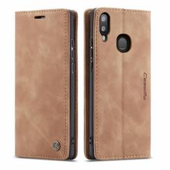 CaseMe - Samsung Galaxy A30 hoesje - Wallet Book Case - Magneetsluiting - Licht Bruin