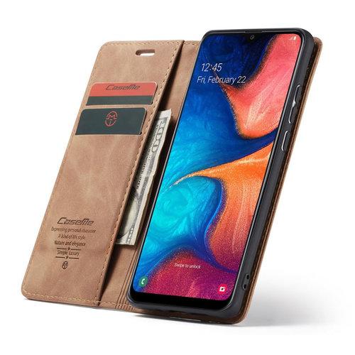CaseMe CaseMe - Samsung Galaxy A30 hoesje - Wallet Book Case - Magneetsluiting - Licht Bruin