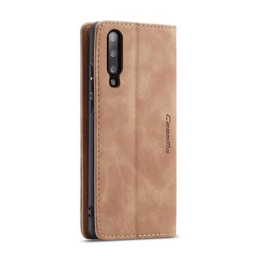 CaseMe CaseMe - Samsung Galaxy A50 hoesje - Wallet Book Case - Magneetsluiting - Licht Bruin