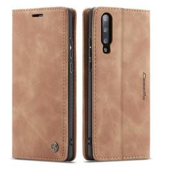 CaseMe - Samsung Galaxy A70 hoesje - Wallet Book Case - Magneetsluiting - Licht Bruin