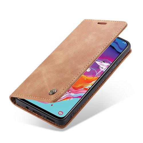 CaseMe CaseMe - Samsung Galaxy A70 hoesje - Wallet Book Case - Magneetsluiting - Licht Bruin