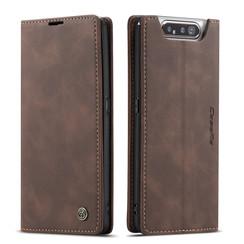 CaseMe - Samsung Galaxy A80 hoesje - Wallet Book Case - Magneetsluiting - Donker Bruin