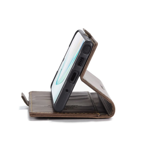 CaseMe CaseMe - Samsung Galaxy Note 10 hoesje - Wallet Book Case - Magneetsluiting - Donker Bruin