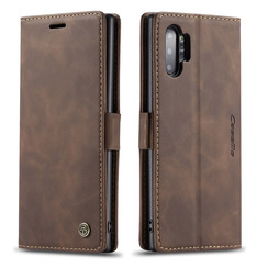 CaseMe - Samsung Galaxy Note 10 Plus hoesje - Wallet Book Case - Magneetsluiting - Donker Bruin