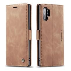 CaseMe - Samsung Galaxy Note 10 Plus hoesje - Wallet Book Case - Magneetsluiting - Licht Bruin