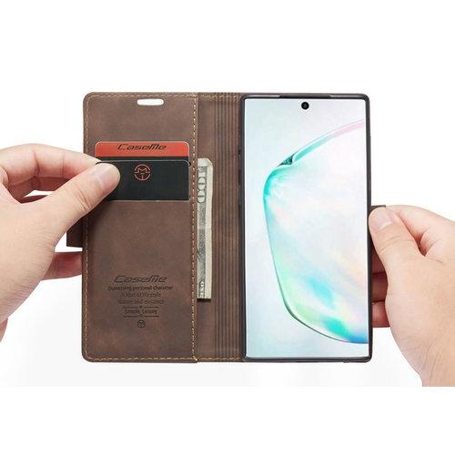 CaseMe CaseMe - Samsung Galaxy Note 10 Lite hoesje - Wallet Book Case - Magneetsluiting - Donker Bruin
