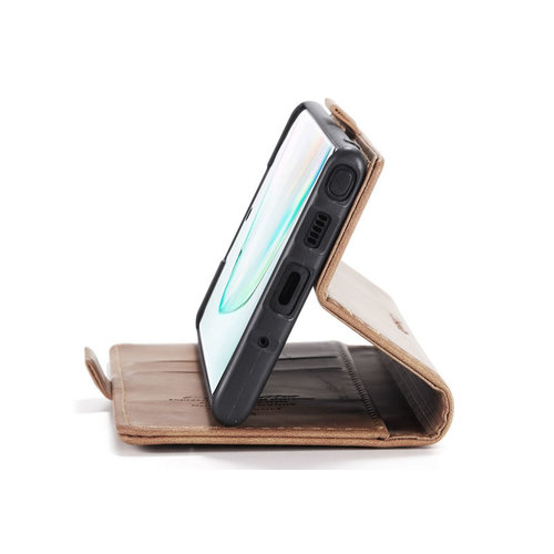 CaseMe CaseMe - Samsung Galaxy Note 10 Lite hoesje - Wallet Book Case - Magneetsluiting - Licht Bruin