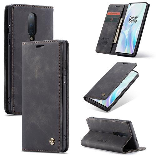 CaseMe CaseMe - OnePlus 8 hoesje - Wallet Book Case - Magneetsluiting - Zwart