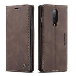 CaseMe - OnePlus 8 hoesje - Wallet Book Case - Magneetsluiting - Donker Bruin