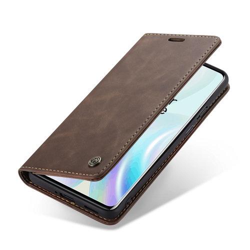 CaseMe CaseMe - OnePlus 8 hoesje - Wallet Book Case - Magneetsluiting - Donker Bruin