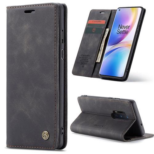 CaseMe CaseMe - OnePlus 8 Pro hoesje - Wallet Book Case - Magneetsluiting - Zwart