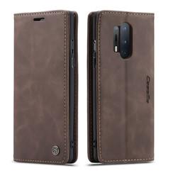 CaseMe - OnePlus 8 Pro hoesje - Wallet Book Case - Magneetsluiting - Donker Bruin