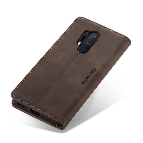 CaseMe CaseMe - OnePlus 8 Pro hoesje - Wallet Book Case - Magneetsluiting - Donker Bruin