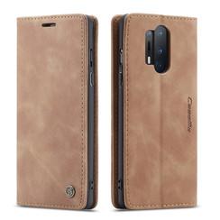 CaseMe - OnePlus 8 Pro hoesje - Wallet Book Case - Magneetsluiting - Licht Bruin