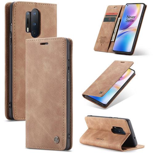 CaseMe CaseMe - OnePlus 8 Pro hoesje - Wallet Book Case - Magneetsluiting - Licht Bruin