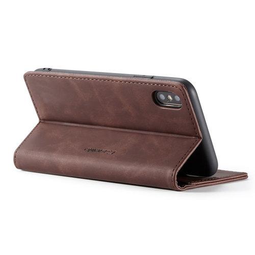CaseMe CaseMe - iPhone X/XS hoesje - Wallet Book Case - Magneetsluiting - Donker Bruin