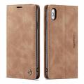 CaseMe CaseMe - iPhone X/XS hoesje - Wallet Book Case - Magneetsluiting - Licht Bruin
