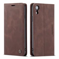 CaseMe - iPhone XR hoesje - Wallet Book Case - Magneetsluiting - Donker Bruin